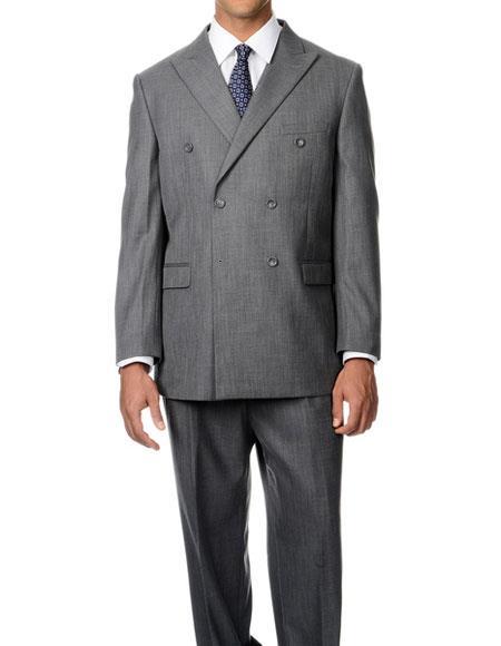 Men's Double Breasted Grey Button Closure Peak Lapel Double Vent Suit