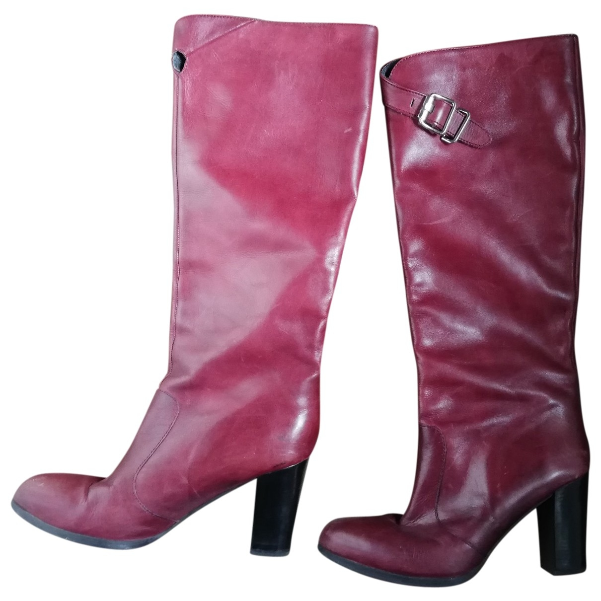 Non Signé / Unsigned \N Burgundy Leather Boots for Women 39 EU