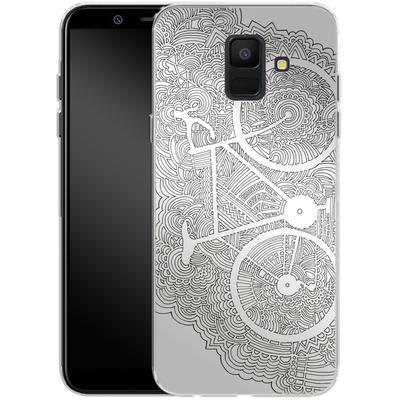 Samsung Galaxy A6 Silikon Handyhuelle - Bike Drawing Meditation von Kaitlyn Parker
