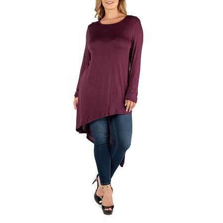 24/7 Comfort Apparel Long Sleeve Asymmetric Top, 3x , Purple