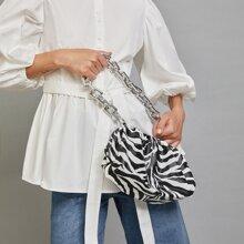 Tasche mit Zebra Muster, Kette und Rueschen