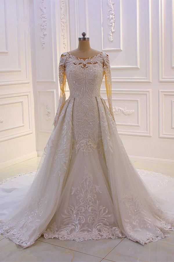 Elegante joya de manga larga de tul de encaje brillante vestido de novia de marfil