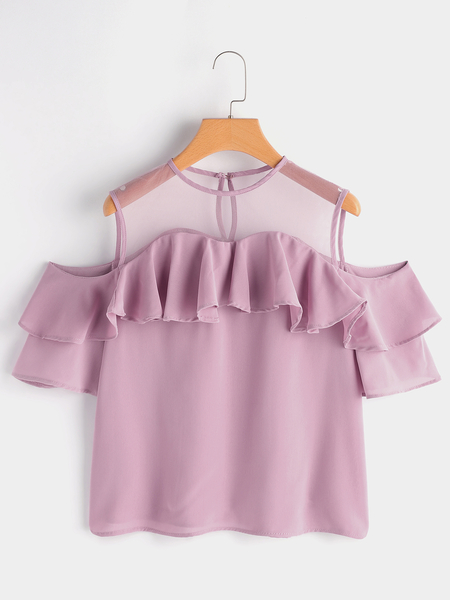 Yoins Pink Tiered Design Cold Shoulder Short Sleeves Mesh Blouse