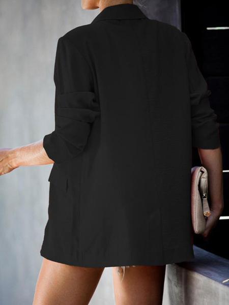 Milanoo Blazer para mujer azul cuello vuelto manga larga cruzado casual blazers