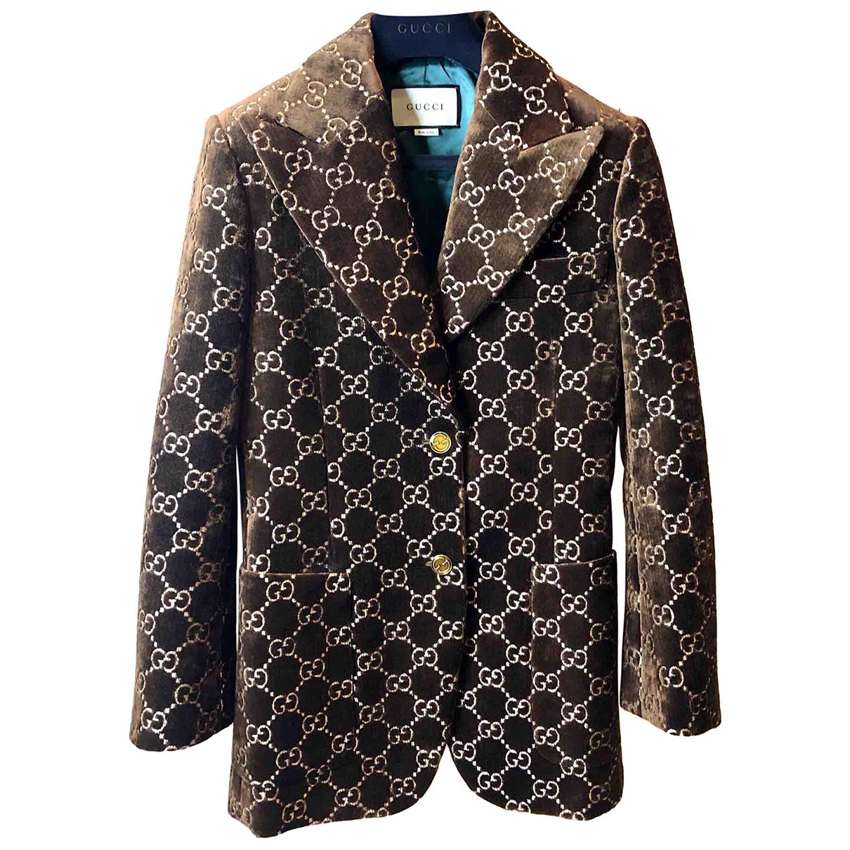 Gucci N Brown Velvet jacket for Women 40 IT