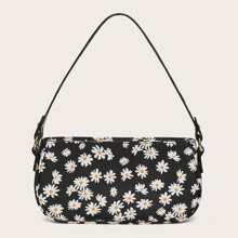 Daisy Print Baguette Bag