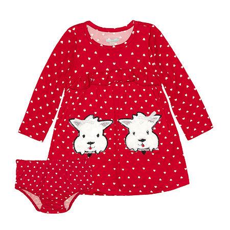 Nannette Baby Girls Long Sleeve Dress Set, 6-9 Months , Red
