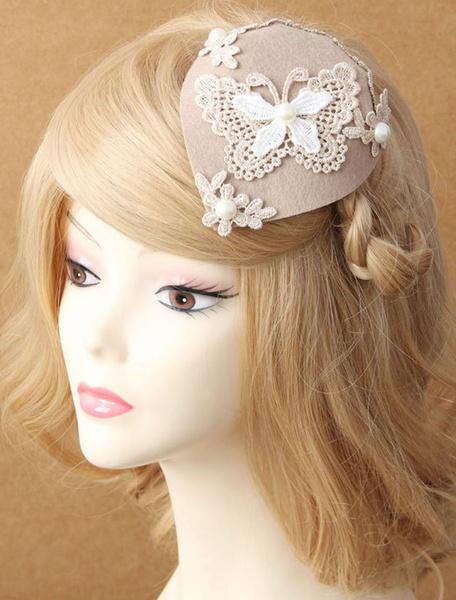 Milanoo Mariposa Fascinator sombreros encajes decoracion perla noche sombrero