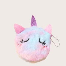 Girls Fluffy Unicorn Design Wallet