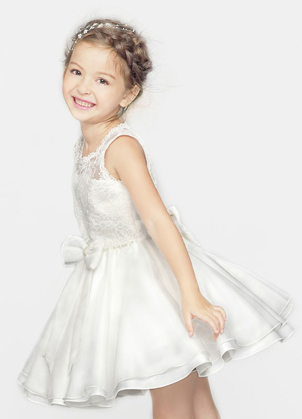 Milanoo Flower Girl Dress Ivory Applique Bow Crewneck Princess Dinner Dress For Toddlers