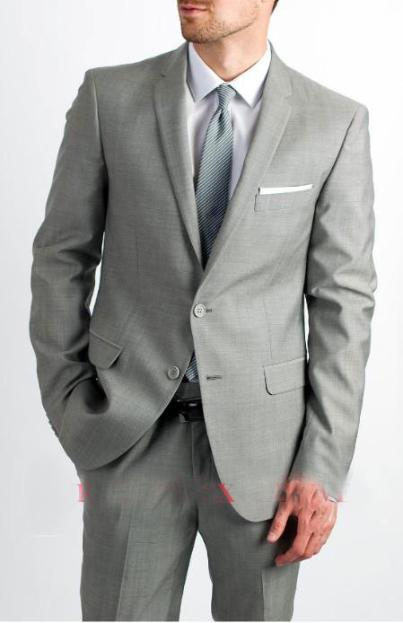 Mens Two Button Single Breasted Silver Grey Suit