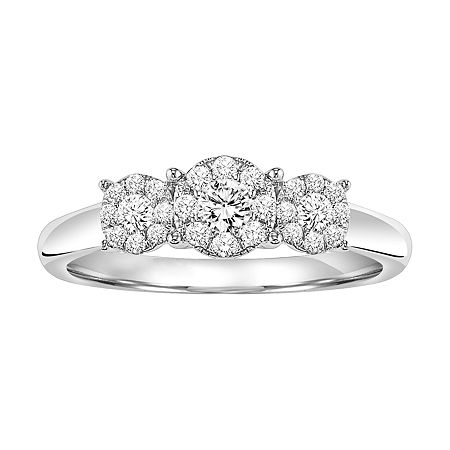 Womens 3/8 CT. T.W. Genuine White Diamond Sterling Silver 3-Stone Engagement Ring, 7 , No Color Family