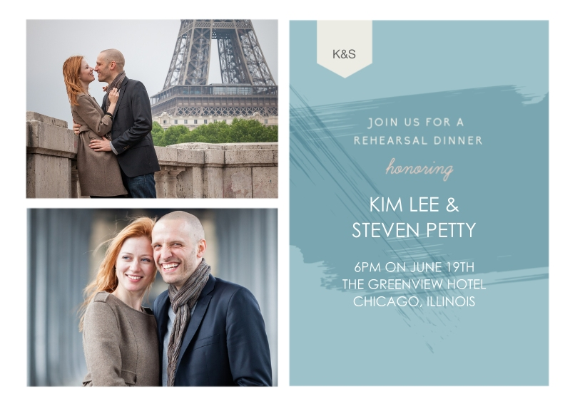 Rehearsal Dinner Invites 5x7 Cards, Premium Cardstock 120lb with Elegant Corners, Card & Stationery -Paint Rehearsal Dinner Invitation Set