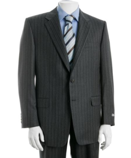 Mens Two Button Charcoal Gray Multi Stripe Suit