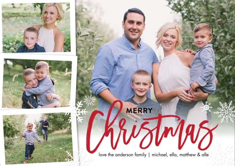 Christmas Photo Cards 5x7 Cards, Premium Cardstock 120lb, Card & Stationery -Christmas Red Script Snowflakes by Tumbalina