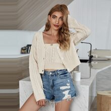 Solid Cable Knit Crop Tube Knit Top & Cardigan