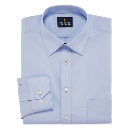 Stafford Travel Easy-Care Stretch Broadcloth Big And Tall Mens Point Collar Long Sleeve Wrinkle Free Stretch Dress Shirt, 18 38-39, Blue