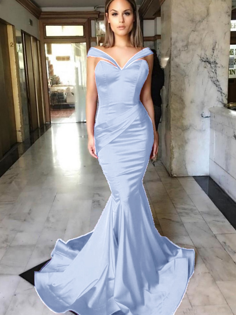 Ericdress Off-the-Shoulder Pleats Mermaid Evening Dress