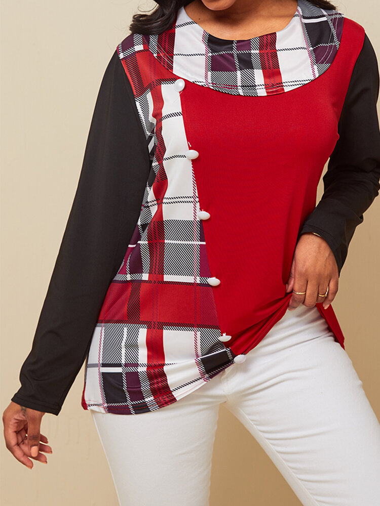 Plaid Long Sleeve O-neck Patchwork Button Blouse For Women