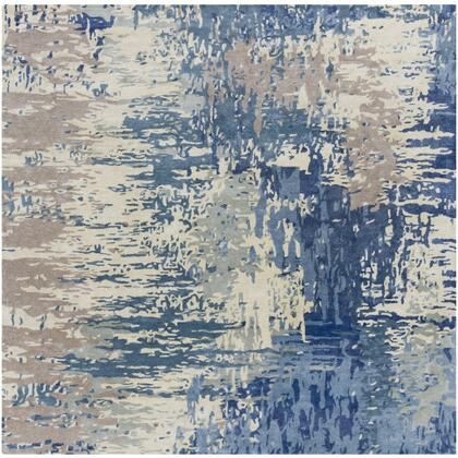 Banshee BAN-3342 10' Square Modern Rug in Dark Blue  Bright Blue  Cream  Camel  Sea