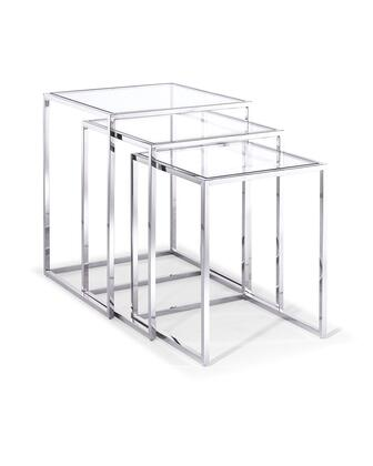 Terzi Collection ST1388 3 PC Nesting Tables with Clear Glass Top  Square Shapes and Stainless Steel