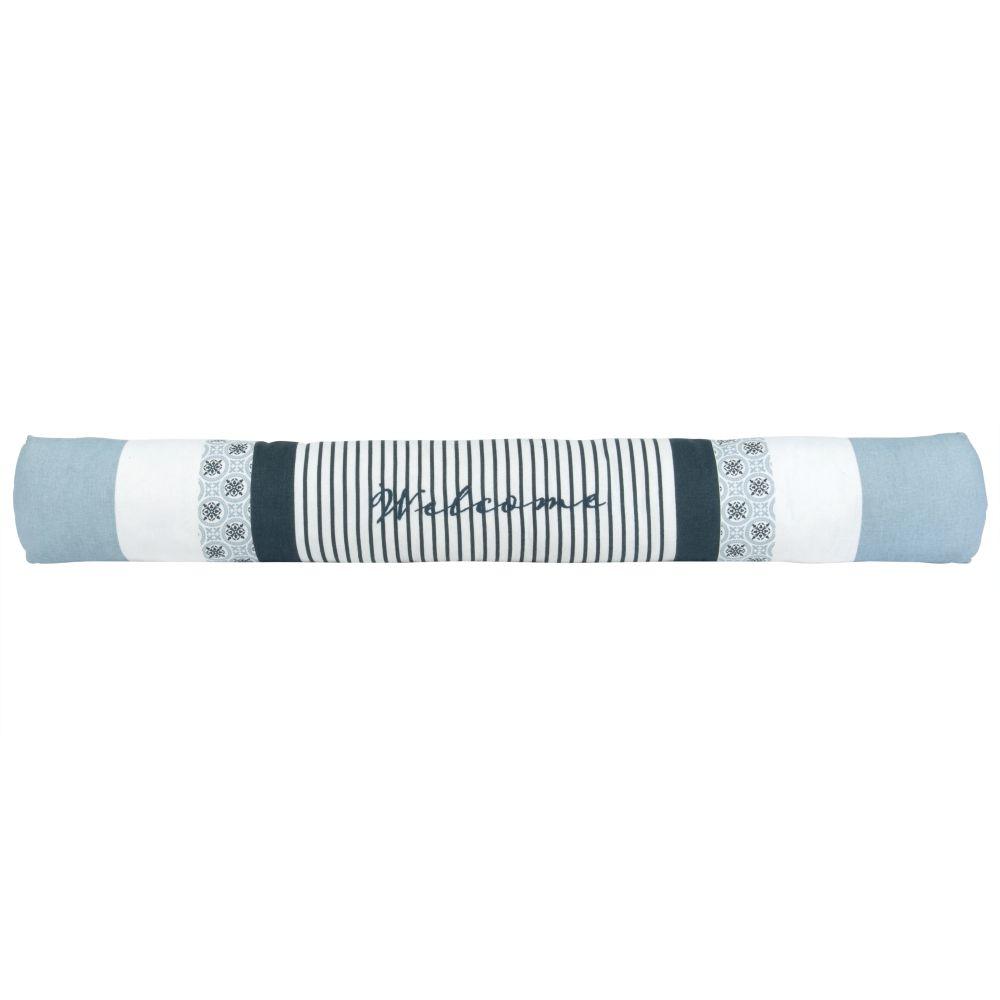 Zugluftstopper aus Baumwolle mit blauem Streifenmuster