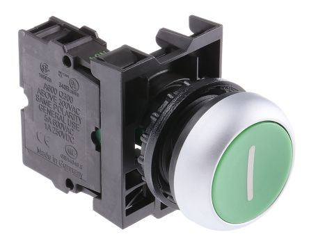 Eaton , M22 Non-illuminated Green Round Push Button, SPNO, 22mm Momentary Screw