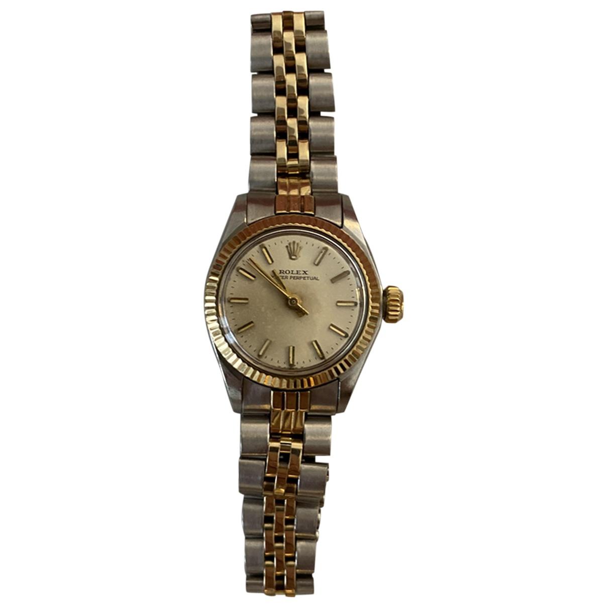 Rolex - Montre Lady Oyster Perpetual 24mm pour femme en or et acier - dore