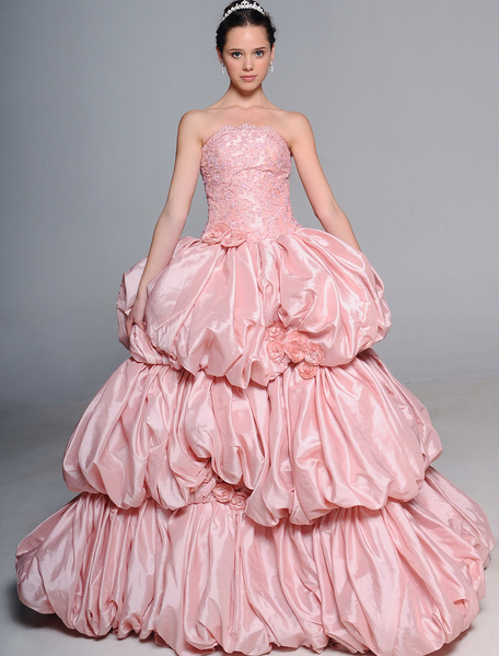Milanoo Wedding Dress with Strapless Ball Gown Beading