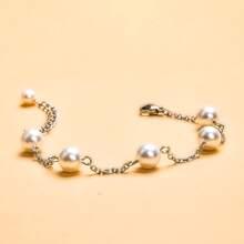 Faux Pearl Decor Chain Bracelet