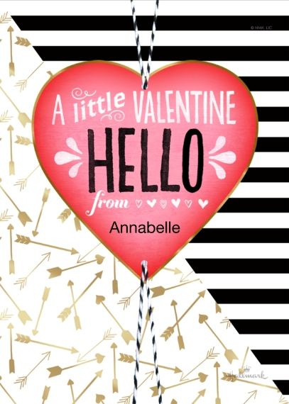 Valentine's Cards 5x7 Folded Cards, Standard Cardstock 85lb, Card & Stationery -A Little Valentine Hello