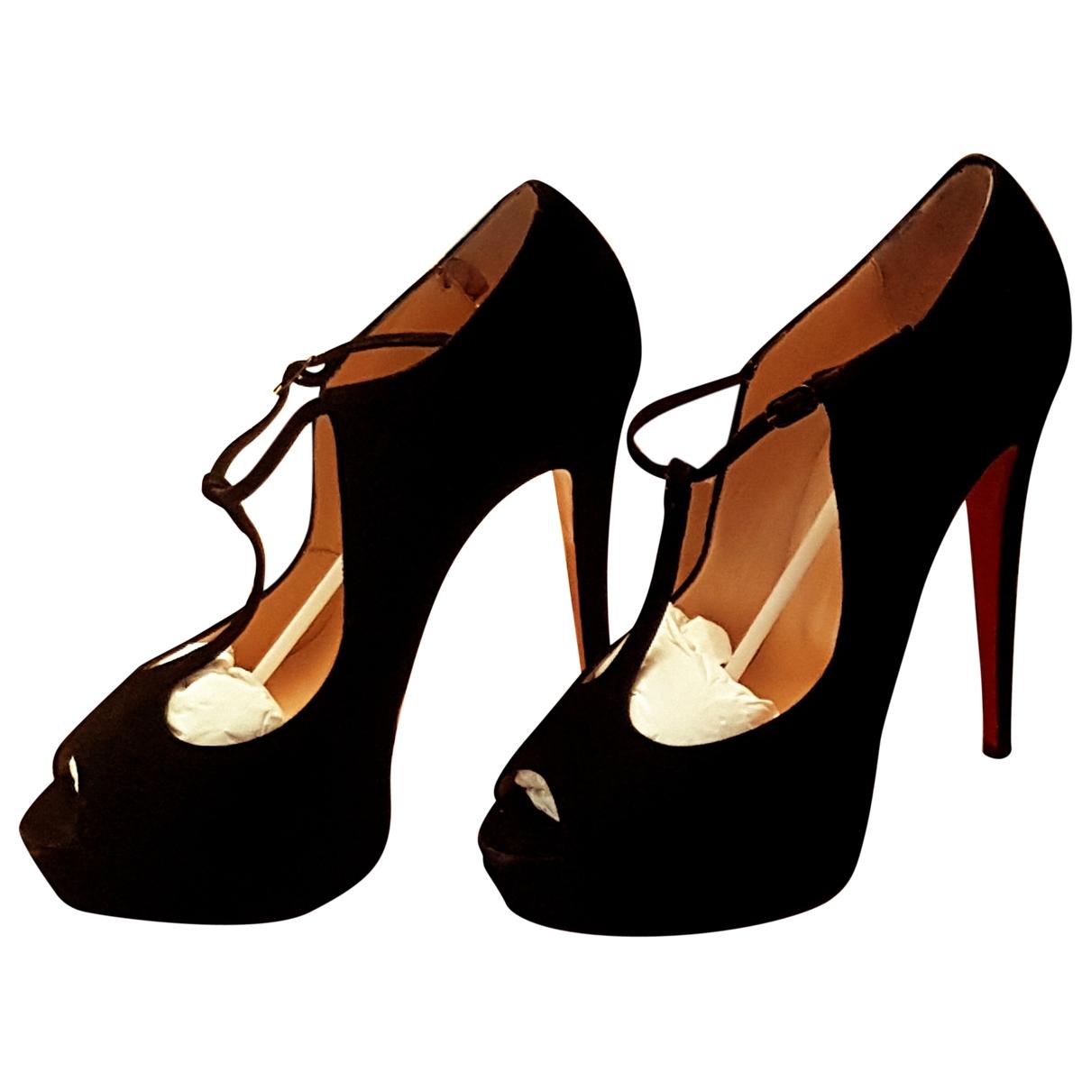 Christian Louboutin Lady Peep Black Suede Heels for Women 40 EU