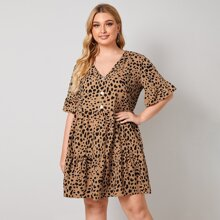 Plus Flounce Sleeve Buttoned Front Allover Print Smock Dress