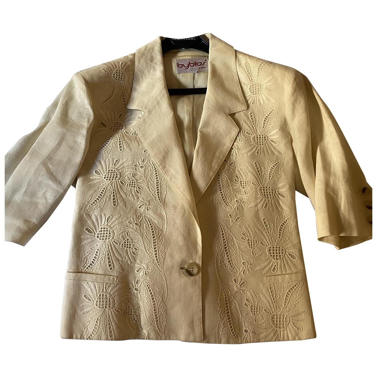 Byblos \N Beige Linen jacket for Women 44 IT