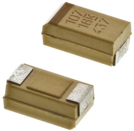 KEMET Tantalum Capacitor 100μF 16V dc MnO2 Solid ±10% Tolerance , T491 (5)