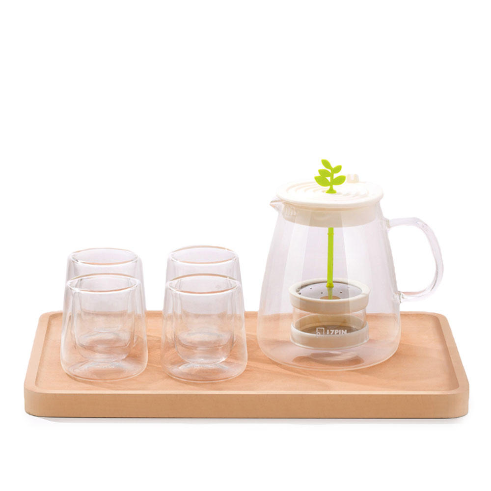 17PIN Tea Pot Set Borosilicate Glass Teapot Set With 304 Stainless Steel Infuser Strainer Heat Resistant Loose Leaf Tea