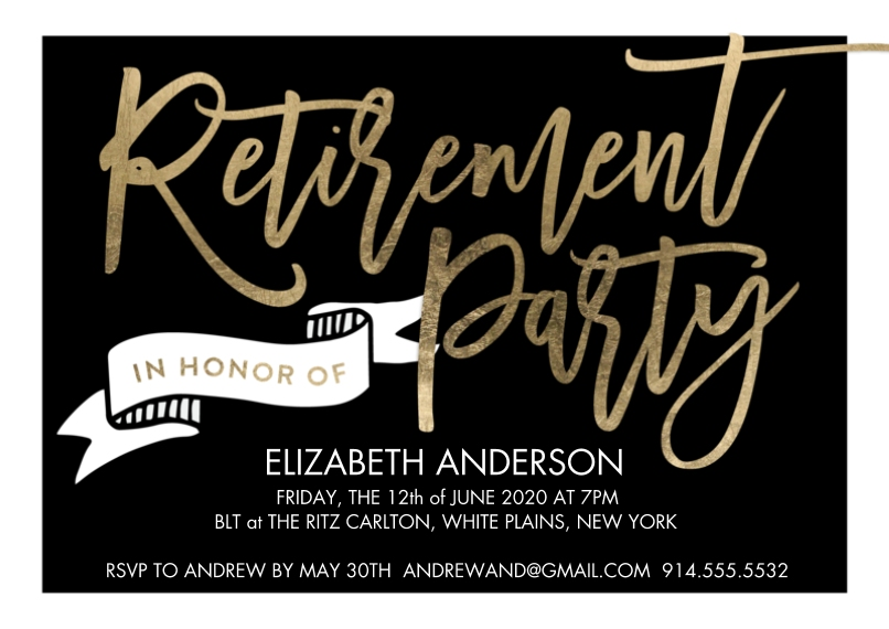 Retirement Cards 5x7 Cards, Premium Cardstock 120lb with Elegant Corners, Card & Stationery -Retirement Party Banner
