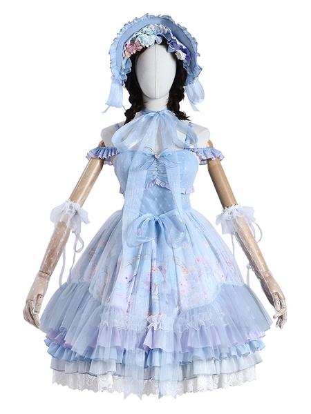 Milanoo Sweet Lolita JSK Dress Baby Blue Violin Cat Lolita Jumper Faldas Conjunto completo