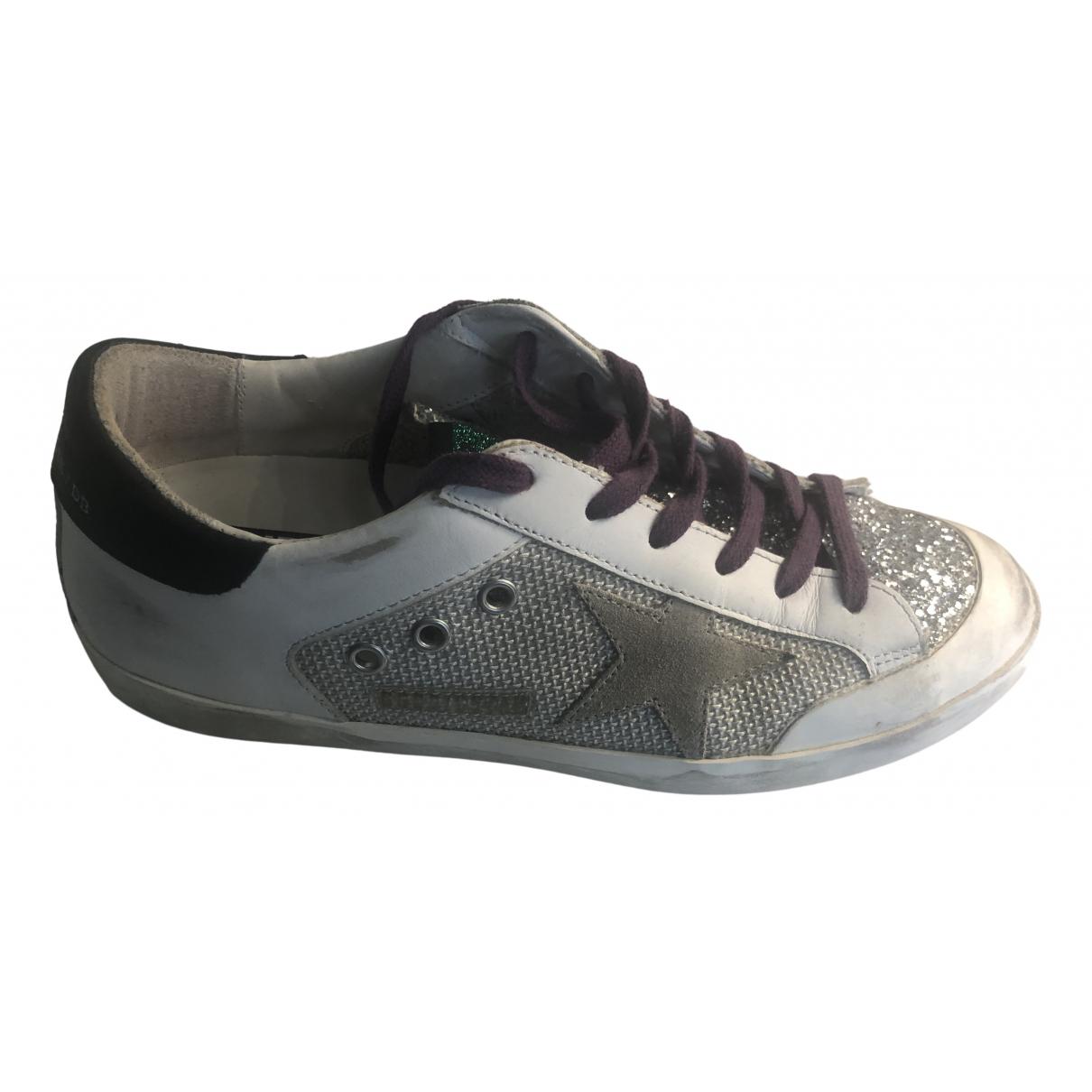 Golden Goose Superstar Sneakers in  Weiss Leder