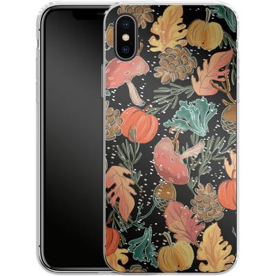 Apple iPhone X Silikon Handyhuelle - Fall Woodland Black von Mukta Lata Barua