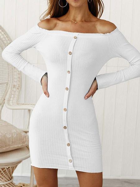 Milanoo Off Shoulder Bodycon Dresses Long Sleeves Buttons Women Midi Dress