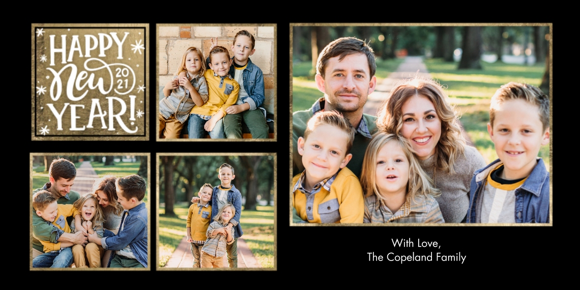New Year's Photo Cards 4x8 Flat Card Set, 85lb, Card & Stationery -New Year 2021 Gold Stars Collage by Tumbalina