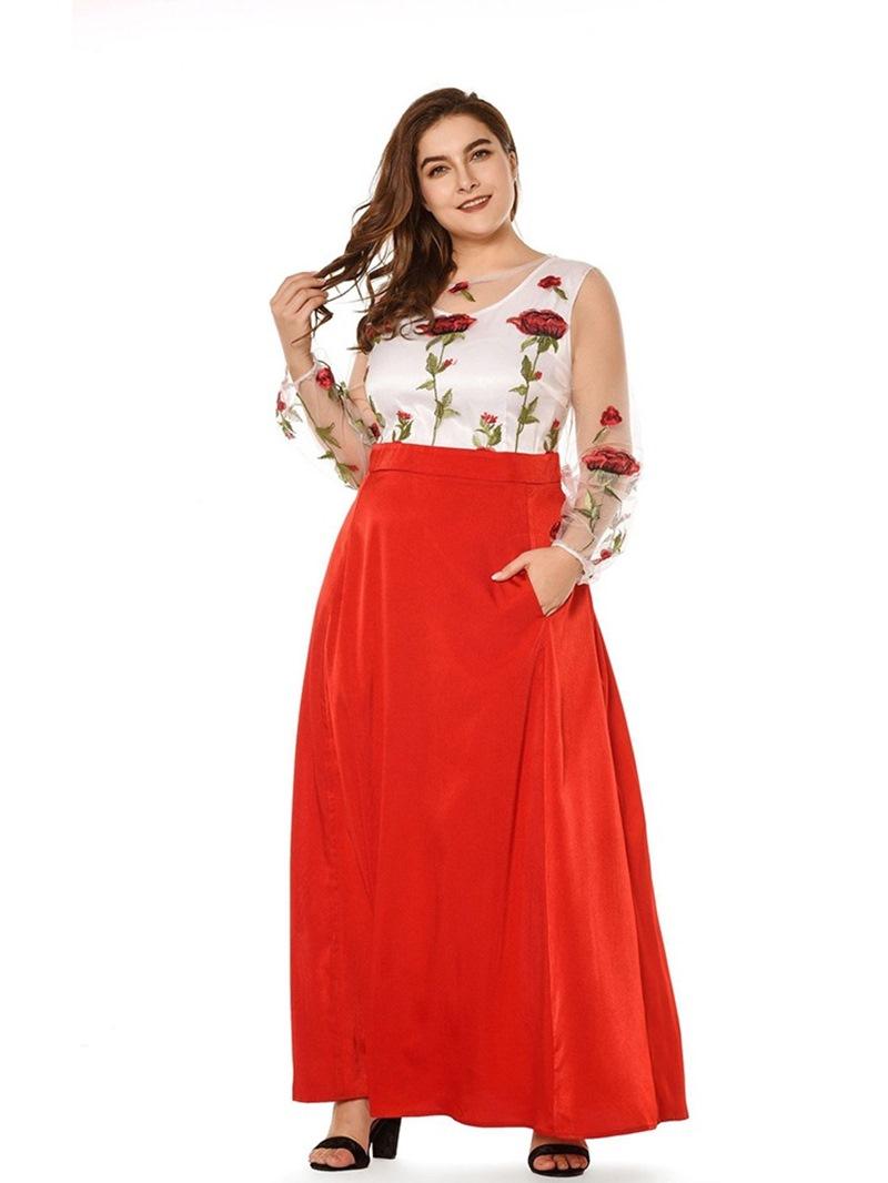 Ericdress Plus Size Print Pocket Ankle-Length A-Line Dress