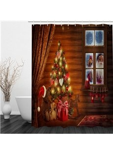 Santa outside the Warm House Printing Christmas Theme Bathroom 3D Shower Curtain