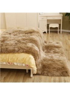 Luxurious Real Lamp Fur Light Brown Blanket