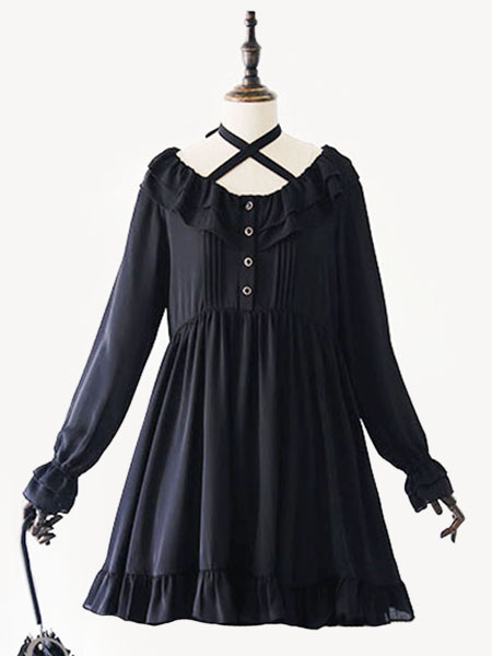 Milanoo Classic Lolita OP Dress Ruffle Pleated Black Lolita One Piece Dress