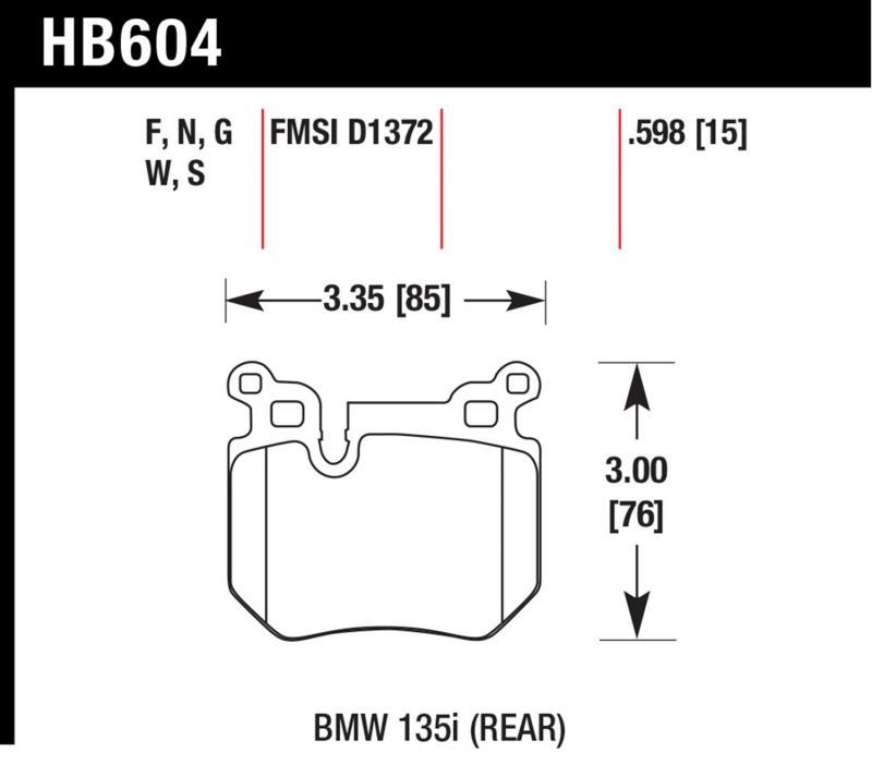 Hawk Performance HB604F.598 Disc Brake Pad BMW Rear