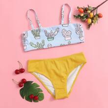 Girls Cactus Print Rib Bikini Swimsuit