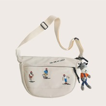 Cartoon Graphic Crossbody Bag With Toy Charm