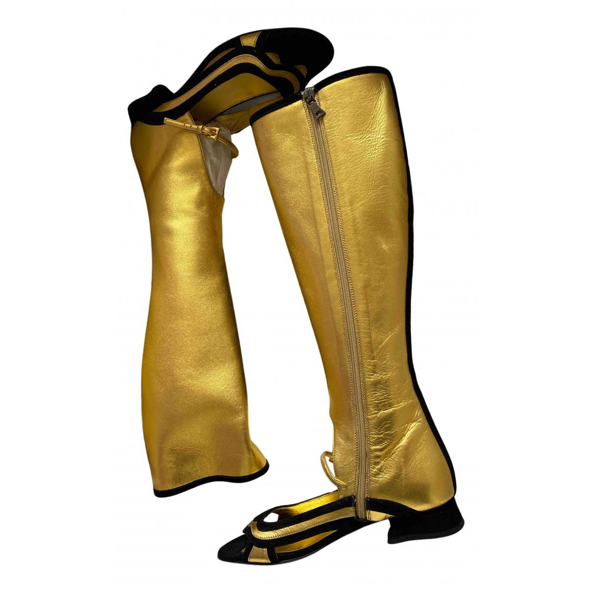 Prada - Boots   pour femme en cuir - dore